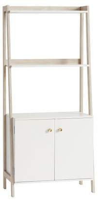 Pottery Barn Teen Highland Wide Bookcase with Cabinet, Weathered White / Simply White