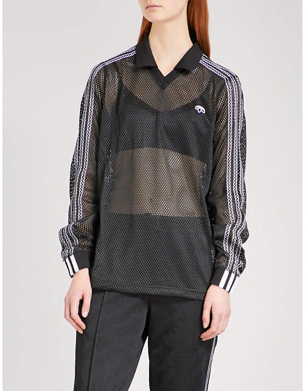 Adidas X Alexander Wang 3-Stripes-detail mesh polo shirt