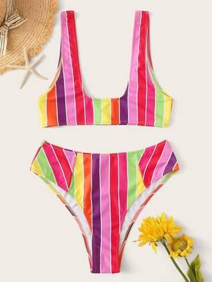 Shein Striped U-Plunge Neck With High Leg Bikini Set