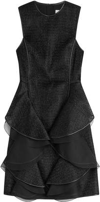 Jason Wu Woven Raffia Sheath Dress with Leather Trim