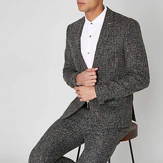 River Island Navy check print skinny suit jacket