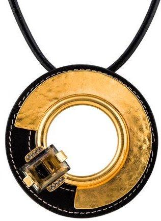 MarniMarni Leather & Crystal Pendant Necklace