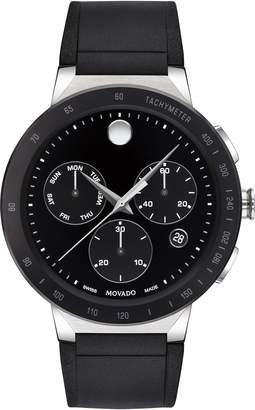 Movado Sapphire Chronograph Rubber Strap Watch, 43mm