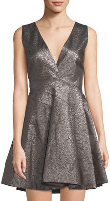 Roberto Cavalli Metallic Jacquard Fit-&-Flare Dress