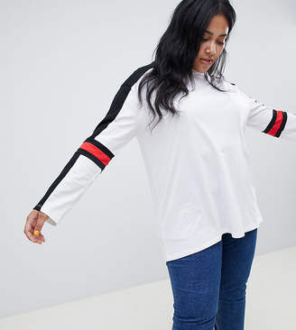 Asos DESIGN Curve long sleeve t-shirt in mono colour block