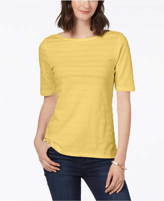 Charter Club Cotton Textured-Stripe Top