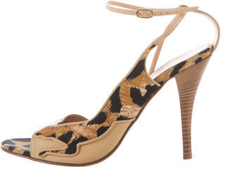 Casadei Leopard Leather Sandals $75 thestylecure.com