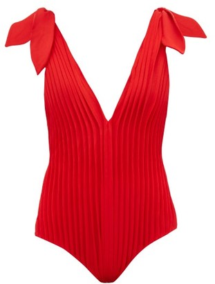 Cult Gaia Adriana Degreas X Pleated V Neck Jersey Swimsuit - Womens - Red