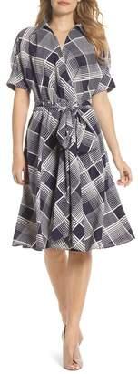 Eliza J Plaid Surplice Midi Dress (Regular & Petite)