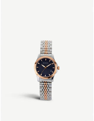 a93c801d0b0 Gucci YA126512 G-Timeless Collection bi-colour stainless steel and  pink-gold PVD