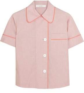 Araks Shelby Silk Chiffon-Trimmed Cotton-Poplin Pajama Top
