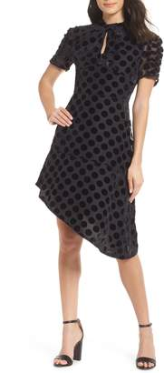 Chelsea28 Asymmetrical Velvet Dot Dress