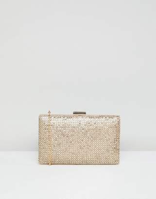 True Decadence gold sparkle box clutch bag