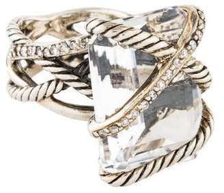 David Yurman Topaz & Diamond Cable Wrap Ring