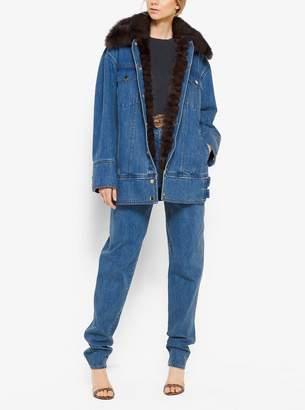 Michael Kors Sable-Lined Oversized Denim Jacket