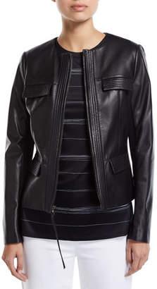 St. John Leather Jacket w/ Knit Panels