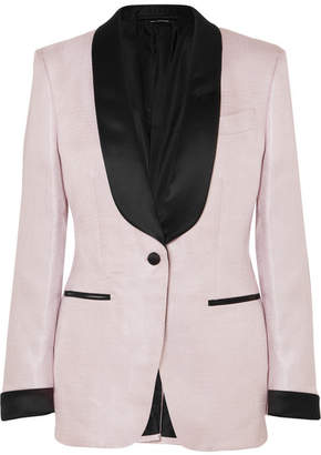 Tom Ford Satin-trimmed Woven Tuxedo Jacket - Lilac
