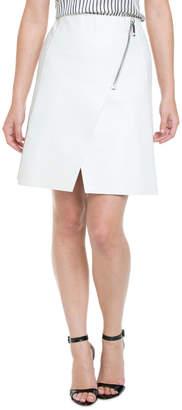 Max Mara Sportmax Reggia White Structured Leather Skirt