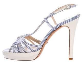 Alexandra Neel Striped Satin Platform Sandals