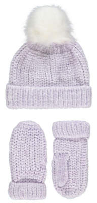 George Purple Chenille Hat and Mittens Set