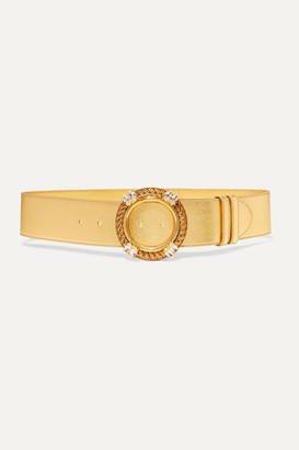 Miu Miu Crystal-embellished Metallic Leather Belt - Gold