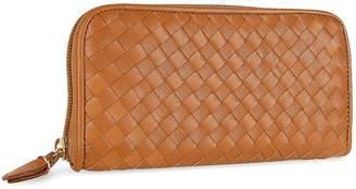 Fontanelli Women's Brown Italian Woven Leather Concertina Zip Wallet