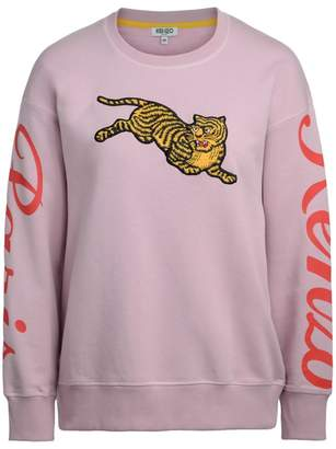 Kenzo Jumping Tiger Pink Fleece With Maxi Patch