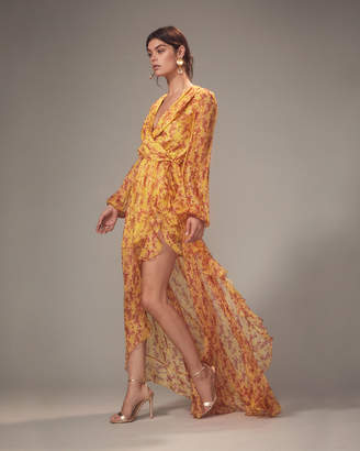 Caroline Constas Marigold Abstract-Printed High-Low Gown