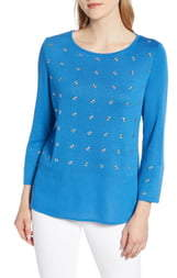 Ming Wang Grommet Detail Sweater