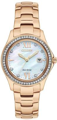 Citizen Eco Drive Mother of Pearl Dial Rose Gold Tone Bracelet Ladies Watch