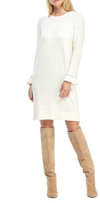 Gal Meets Glam Agnes Ruffle Cuff Long Sleeve Sweater Dress