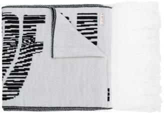 Just Cavalli fringed slogan scarf