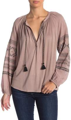 Lucky Brand Embroidered Blouson Sleeve Peasant Top