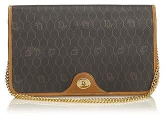 Christian Dior Vintage Honeycomb Coated Canvas Chain Shoulder Bag