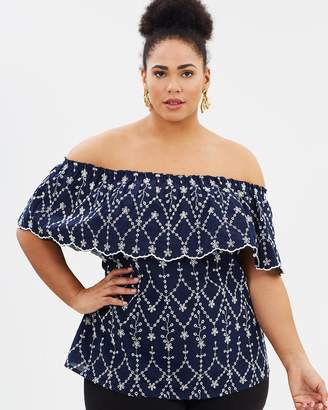 Evans Navy Blue Cutwork Top