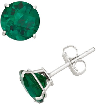 Lab-Created Emerald 10k White Gold Stud Earrings