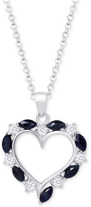 """Macy's Ruby (2-1/10 ct. t.w.) & White Topaz (3/4 ct. t.w.) Heart 18"""" Pendant Necklace in Sterling Silver, (Also in Sapphire)"""