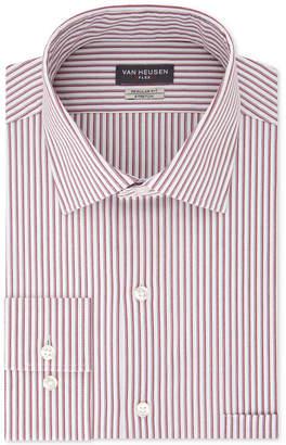 Van Heusen Men Classic/Regular-Fit Performance Stretch Wrinkle-Free Flex-Collar Red Stripe Dress Shirt