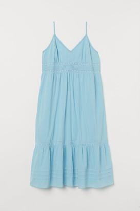 H&M H&M+ Long Dress with Lace - Blue