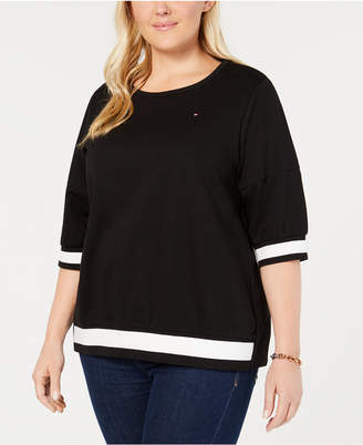 Tommy Hilfiger Plus Size Colorblocked-Striped Top