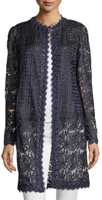 Elie Tahari Jaya Lace-Mesh Coat