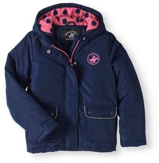 Beverly Hills Polo Club Logo Fashion Coat with Polar Fleece Lined Hood (Little Girls & Big Girls)
