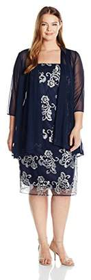 R & M Richards R&M Richards Women's Plus Size Embroidered Jacket Dress