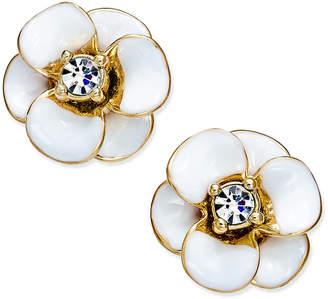 Kate Spade 14k Gold-Plated Crystal Enamel Flower Stud Earrings
