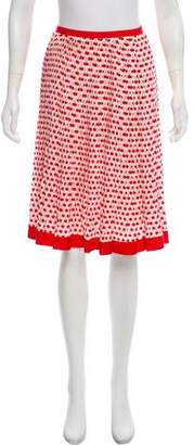 Oscar de la Renta Silk Cherry Printed Skirt w/ Tags
