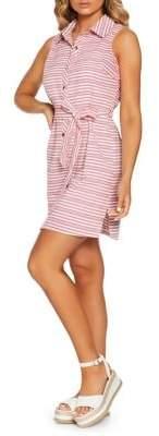 Quiz Striped Cotton Blend Mini Shirtdress