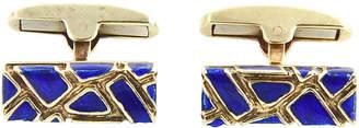 One Kings Lane Vintage Geometric Blue Enamel & Gold Cufflinks