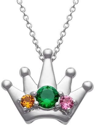 FINE JEWELRY Personalized Womens Simulated Multi Color Cubic Zirconia Sterling Silver Crown Pendant Necklace