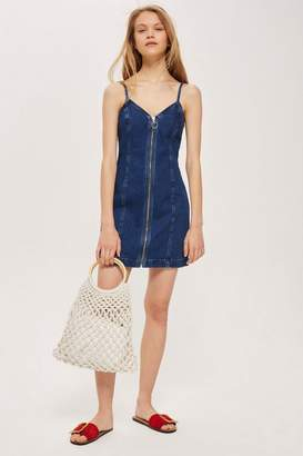 Topshop Zip Denim Dress