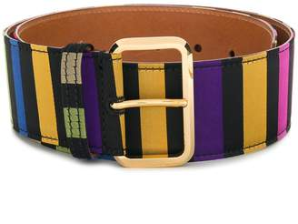 Etro rectangular buckle striped belt